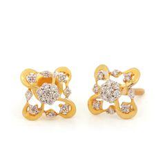 Solid 14K Yellow Gold Genuine 0.26 Ct Diamond Floral Shape Stud Earrings Jewelry #Handmade #Stud Diamond Bracelets, Diamond Jewelry, Diamond Earrings, Solid Gold Jewelry, Fine Jewelry, Diamond Crown, Delicate Rings, Minimalist Earrings, Diamond Design