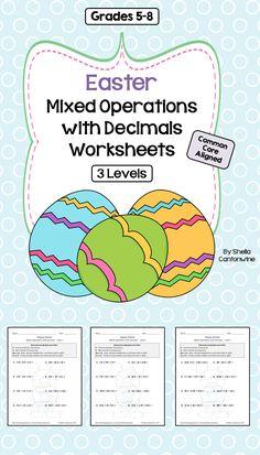 Easter Math: Decimal Worksheet Bundle (3 Levels)   Multiplying ...