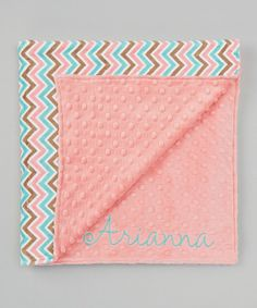Another great find on #zulily! Coral Zigzag Personalized Stroller Blanket #zulilyfinds