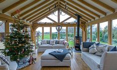Oxfordshire-barn-conversion-Scandi-elegance-garden-room The elegant interiors of this beautiful rustic barn are the epitome of Christmas chic, with roaring fires, flickering candles and plush reindeer skins Barn House Conversion, Barn Conversion Interiors, Barn Conversions, Garden Room Extensions, Oak Frame House, Barn Renovation, Converted Barn, Small Barns, Living Room Lighting