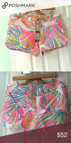 NWT Lilly Addie shorts 10 Lilly Pulitzer Addie shorts. 'Shellabrate'. Size 10. NWT. Lilly Pulitzer Shorts