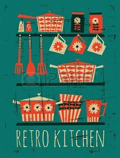 Poster with kitchen items in retro style
