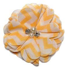 "Orange chevron 2.7"" chiffon folded flowers w/ rhinestones & pearls"