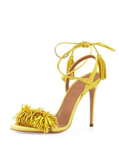 Aquazzura Wild Thing Suede Sandals in Tulip Yellow Ankle Strap High Heels, Strappy Sandals Heels, Stiletto Heels, Women Sandals, Purple Sandals, Shoes Heels, Jimmy Choo, Fringe Sandals, Pumps