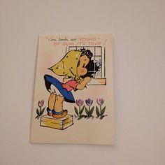 Vintage Greeting Card Birthday Cute Girl Window Clothesline Gibson