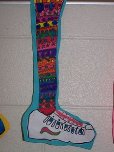 "3rd/4th Grade- crazy socks. Can be used to teach Idioms ""Start the Year on the Right Foot"". Class picks an idiom to write on the leg and be able to explain the meaning. Makes a great bulletin board for the beg. of year..."