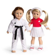 Florrie dolls wearing the karate and tennis outfits.