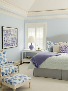 Waterleaf Interiors Gray & blue bedroom design with gray headboard with nailhead trim, blue silk roman shades, blue bed skirt, pink & gray pillows, upholstered blue French chair and soft blue walls. Bedroom Color Schemes, Bedroom Colors, Bedroom Decor, Colour Schemes, Color Combinations, Bedroom Furniture, Bedroom Ideas, Dream Bedroom, Master Bedroom