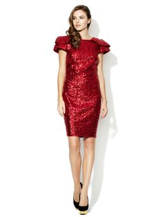 Sequin Ruffle Sleeve Dress by Notte By Marchesa at Gilt