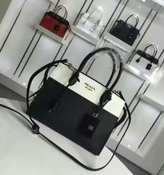 Cheap Prada bags 2016 Prada Esplanade Saffiano and calf leather bag white+ black 6d95d79648472