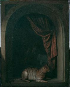 A cat at the window of a painters' studios - Gerrit Dou, 1613-75, also known as Gerard and Douw or Dow, was a Dutch Golden Age painter, whose small, highly-polished paintings are typical of the Leiden fijnschilders.