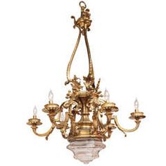 #1900s #French #Doré #Bronze #Chandelier with #Crystal #Bowl