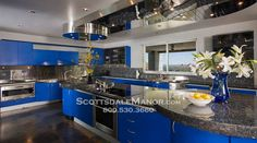 Blue kitchen in a vacation rental