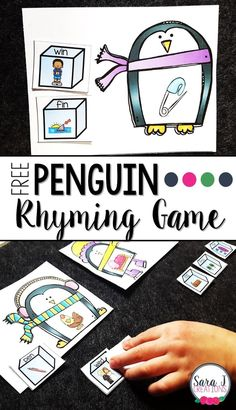 Free penguin themed rhyming game!  Great CVC and rhyme practice. #winter #free #sarajcreations #rhyme