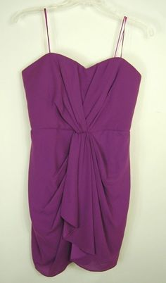 Max and Cleo 14  New Draped A-line Cocktail Dress Strapless Magenta Purple Large #MaxandCleo #BallGown #Cocktail