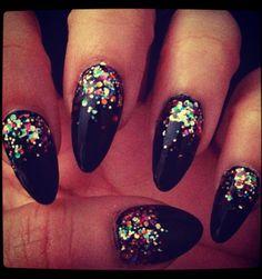 confetti stiletto nails