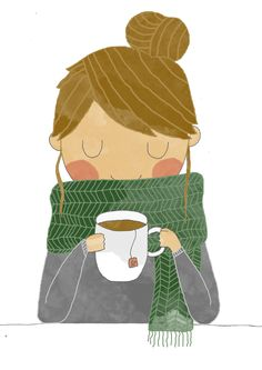 Cute drawing of a woman with hair in a bun, cozy big scarf, sweater, and a cuppa! Portraits - Laura Caldentey illustration