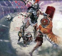 Gladiators' duel in the Colosseum | Gladiators War Art | Pinterest ...