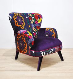 Suzani armchair  blue love by namedesignstudio on Etsy, $1600.00