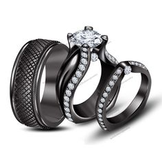 2-3/4 CTW D/VVS1 Diamond Tension Set Black Gold Plated His & Her Trio Ring Set