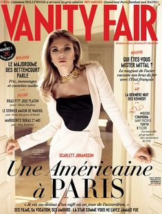 Who made  Scarlett Johansson's white and black dress that she wore on the cover of Vanity Fair magazine?