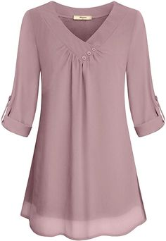 Miusey Ladies Chiffon Blouses, Juniors Summer Casual V Neck Cuffed Sleeve Pleated Curved Hem Office Flattering Flowy Shirts for Leggings Lightweight Tunic Tops Pink M - BigSale Online Shopping USAMiusey Tunic Blouses Women Ladies Elegant V Neck Chiff Blouse Styles, Blouse Designs, Plus Size Outfits, Trendy Outfits, Trendy Clothing, Tunic Tops For Leggings, Knit Leggings, Stil Inspiration, Plus Size Clothing Online