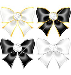 White and black bows with diamonds and gold edging vector 1871336 - by girlart on VectorStock®
