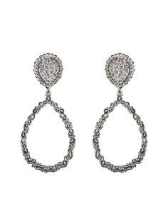Anzie - Dew Drop - Echo Pear Hoops - Silver