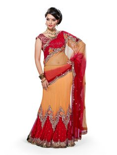 Red & Light Orange #Bridal #lehenga #saree For more collection please visit this link:- http://www.womenindianwear.com/lahenga-choli.html