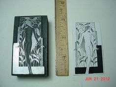 Nude GODDESS among FLOWERS * Letterpress Printers Block