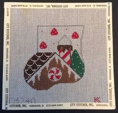 Gingerbread House Hand Painted Needlepoint Canvas Mini Stocking Kathy Schenkel