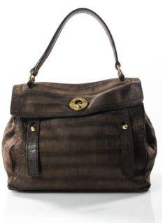Yves Saint Laurent Dark Brown Embossed Crocodile Muse Two Satchel Handbag