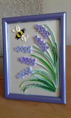 Original Quilling Wall Art handmade in the Provence style. Delicate lavender flowers and bee. This beautiful design can grace any room, lovely gift for any occasion, anniversary, or birthday! The picture is framed into the frame. The size of the picture w Quilling Flower Designs, Quilling Flowers Tutorial, Paper Quilling Flowers, Paper Quilling Cards, Paper Quilling Jewelry, Paper Quilling Patterns, Origami And Quilling, Quilled Paper Art, Diy Quilling Crafts