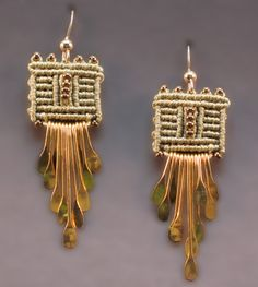 Joan Babcock Earrings - macrame and hammered wire paddles