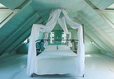 Stupefying Sloped Ceiling Ideas in Bedroom Traditional design ideas with attic beach home canopy bed curtain panels Attic Rooms, Attic Spaces, Attic Bathroom, Attic Bed, Attic Floor, Attic Closet, Attic Playroom, Attic Window, Attic Apartment