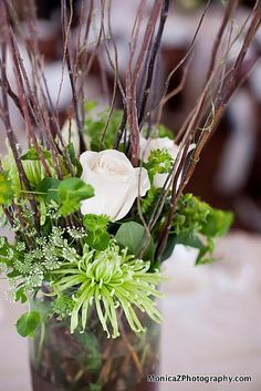 white flowers with twigs for wedding | ... branch centerpiece, green and ivory flowers « Weddingbee Gallery