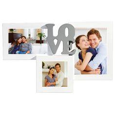 """Cadre photo triple en bois avec le mot """"Love"""" au centre. à personnaliser de vos plus belles photos. Cadeau idéal pour une pendaison de crémaillère, un mariage ou une naissance. #Cadre #Photo #Love"""
