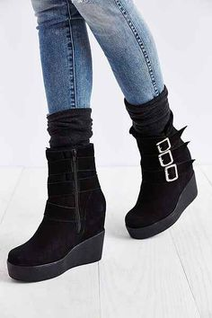 Jeffrey Campbell Hanlin Wedge Motto Boot - Urban Outfitters