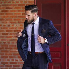 """Better Fellow on Instagram: """"Power suit. Navy stripes and brown accents.  ・・・ : @atlasandmason : @justinquebral"""""""