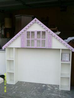 dollhouse headboard, windows open, nightlight inside peak $195 www.mypaintedfurniture.com