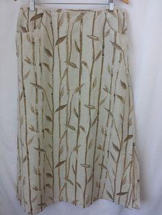 Liz Claiborne Skirt Extra Large Linen Long Maxi Beige Tan Color Side Pockets #LizClaiborne #Maxi #linen