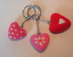 Heart key ringneedlefelt heartneedle fellted by APPLEBLOOMCRAFTS