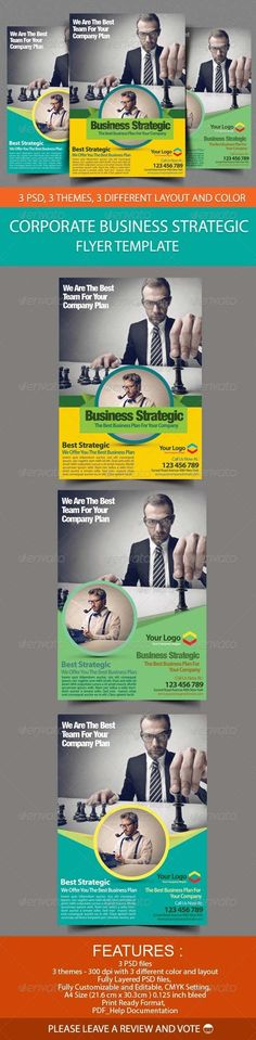 Corporate Business Strategic Flyer Template  #GraphicRiver              Corporate Business Strategic Flyer Template   An elegant, professional, and ultra-clean layout for your Flyer. It's very easy to edit, all you need to do is just to change content and images. It's fully customizable.    Features :   3 PSD files  CMYK   Fully Customizable  A4 Size (30.3×21,6cm with 0.125 inch bleed)  3 different variations color and layout  Super