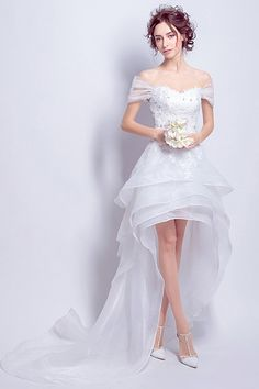 Shop affordable sexy a-line off-the-shoulder high low tulle wedding dress with lace online. Custom-made any size or color. Hi Lo Wedding Dress, Tea Length Wedding Dress, Tulle Wedding, Cocktail Dresses With Sleeves, Long Cocktail Dress, Wedding Dresses Photos, Bridal Dresses, Short African Dresses, Tulle Dress