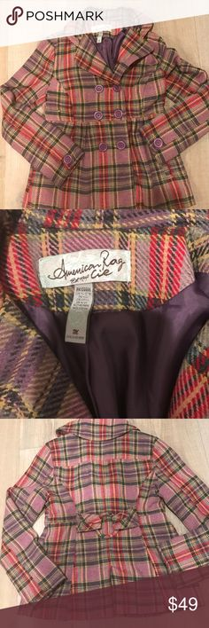 Double Breasted Plaid Blazer Flattering empire cut.  2 slit pockets.  Purple lining.  Rounded puffy collar.  Darling belt detail on the back wit a single slit.  Machine washable per instructions.  Wool, Polyester & acrylic blend. American Rag  Jackets & Coats Blazers