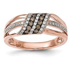 14k Rose Gold White & Brown Diamond Ring