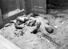 August 1944: Polish civilian incinerated by German rocket fire during the suppression of the Warsaw Uprising.