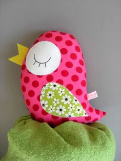 cute bird softie - would use ribbon for beak and attach some sort of loop to top (maybe 3 narrow loops?)