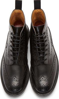 Junya Watanabe Black Classic Wingtip Brogue Boots