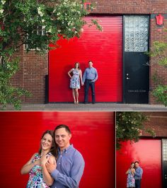 Dallas Deep Ellum Engagement Photo Session - couple standing in front of the red colored garage door - photo by Vanja D Photography